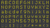 Led display font. Digital scoreboard alphabet, electronic sign numbers and airport electric screen letters vector set