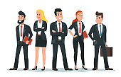 Business people team. Office teamwork, professional finance workers group and businessman characters vector cartoon illustration