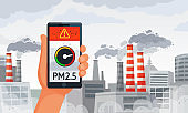 Air pollution alert. PM2.5 alerts meter smartphone notification, dirty air and dirty environment vector illustration