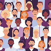 Business people crowd pattern. Office employees, workers team portrait and colleagues standing together seamless vector illustration