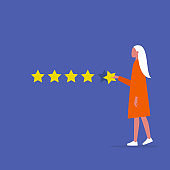 Five star rating. Young female character rates a service. Ranking. Marketing. Customer feedback. Flat editable vector illustration, clip art