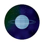 Planet Uranus Space Icon
