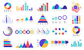 Graphic charts icons. Finance statistic chart, money revenue and profit growth graph. Business presentation graphs flat vector set