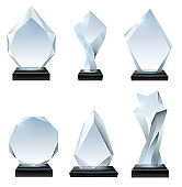 Glass trophy award. Acrylic awards, crystal shape trophies and winner award glassy board transparent realistic vector set