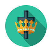 Crown and Cross Christian Icon