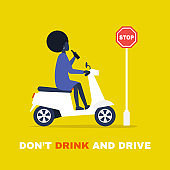 Young black female character driving a motor scooter and holding a bottle of beer. Law violation. Flat editable vector illustration, clip art