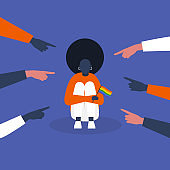 Bullying. Pointing fingers. Haters. Homophobia. LGBTQ rights. Crowd. Sad black female character hugging her knees. Aggression. Modern society. Flat editable vector illustration, clip art