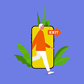 Digital detox. Young male character stepping out of the mobile phone screen. Modern lifestyle. Millennial user. Flat editable vector illustration, clip art