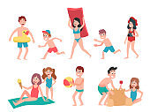 Kids playing at beach. Summer holiday vacation children, swimming and sunbathing kid cartoon vector illustration set