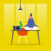 Meditation. Yoga at the office. Harmony and relaxation. Calm female character sitting in a lotus pose on a desk. Flat editable vector illustration, clip art. Modern healthy lifestyle