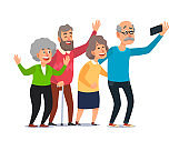 Old people selfie. Senior people taking smartphone photo, happy laughing group of seniors cartoon illustration
