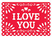 Papel Picado vector template design for Valentine's Day, red I love you Mexican paper cut out decoration with flowers and geometric shapes - greeting card or invitation