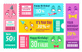 Happy birthday promo voucher. Anniversary coupon, happy gift vouchers and smiling promo code coupons template vector set