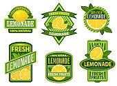 Lemonade badges. Lemon drink emblem badge, fresh fruits lemons juice vintage lemonades emblems vector set
