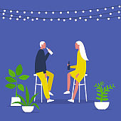Weekend activities. Romantic date in a garden. Outdoor cafe terrace. String lights and plants. Hipster cafe. Summer. A couple drinking beverages. Flat editable vector illustration, clip art