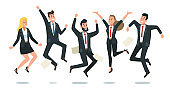 Jumping business team. Office workers jump, happy corporate colleagues jumped together and teamwork fun vector cartoon illustration
