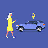 Young female character using a car sharing mobile app service, millennial lifestyle