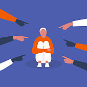 Bullying. Pointing fingers. Haters. Crowd. Sad character hugging his knees. Aggression. Modern society. Flat editable vector illustration, clip art