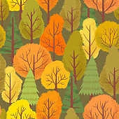 Seamless autumn forest trees pattern. Colorful forest tree, outdoor park plants and minimalist floral vector background illustration