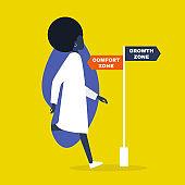 Comfort vs growth zone. Success. Career. Business. Self improvement. Millennial lifestyle. Education. Flat editable vector illustration, clip art