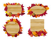 Wooden signs with autumn leaves. Yellow fall leaf, seasonal wood banner vector illustration set