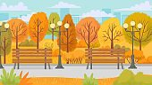 Cartoon autumn park. Yellow trees, city parks environment and nature panorama vector background illustration