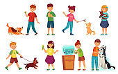 Kids with pets. Kid hug pet, child love animals and playing with dog or cute cat cartoon vector illustration set