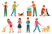 People with pets. Playing with dog, happy pet and dogs owners cartoon vector illustration set