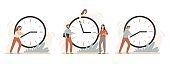 Efficiency work time. Working hours rate, business people work on clocks and time management deadline clock vector illustration set