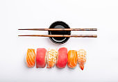 Sushi on white background
