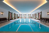 Indoor swimming pool in a private luxury villa