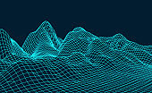 Abstract digital landscape.Wireframe landscape background.Big Data visualization. Vector abstract 3D network background.Intelligence artificial.