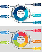 Vector infographic template with integrated circles. Business concept with multiple options. Can be used for content, diagram, flowchart, steps, timeline infographics, workflow, chart.