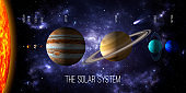 Solar system 3d render illustration with the relative size of the planets and the sun.