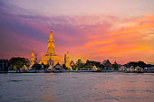 Wat Arun Temple at sunset in bangkok.