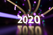 2020 new year with music nodes background, 3d rendering.