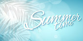 Summer time. Seasonal background. Advertising web banner. Beautiful text. Abstract lights bokeh. Silhouette of a palm tree leaf. Sun rays. Sunny sky. Vector illustration EPS 10