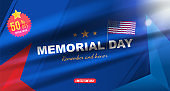 Happy Memorial Day. Greeting card with USA flag on background with light effect. National American holiday event. Flat vector illustration EPS10