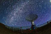 satellite antenna radio telescope on the background of stellar tracks