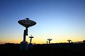 the silhouette of the radio telescope