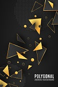 Polygonal shapes. Modern background for your design poster. Low poly. Golden and black triangular forms. Connected lines and dots. Vector illustration EPS 10