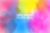 Abstract modern stylish background. Colorful realistic smoke. Multicolored fog. Holi. Indian festival of colors. Colorful texture. Vector illustration. EPS 10