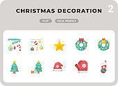Christmas Decoration Flat  Icons Pack for UI. Pixel perfect thin line vector icon set for web design and website application.