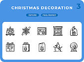 Christmas Decoration Dashed Outline Icons Pack for UI. Pixel perfect thin line vector icon set for web design and website application.