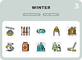 Winter Filled Icons Pack for UI. Pixel perfect thin line vector icon set for web design and website application.
