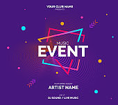 Electronic Music Covers for Summer Night Party or Club Party Flyer.
