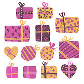 Hand draw set with pink gift boxes.
