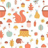 Seamless pattern with hand drawn forest elements in cartoon style.
