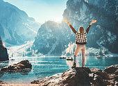 Landscape with traveler
