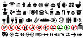 Vector food, drink and arrows, icons set